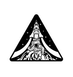 Astronaut and space ship design vector