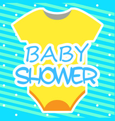 baby shower card with baby clothes vector image