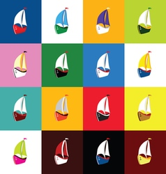 boat set icon vector image