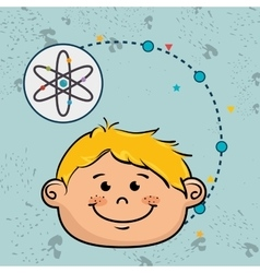 Boy cartoon atom icon vector