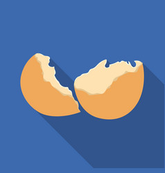 Broken eggshell icon in flate style isolated on vector