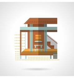 Bungalow exterior flat color design icon vector image