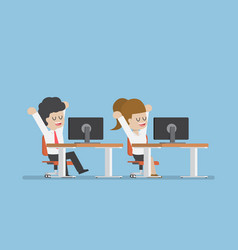 businessman stretching and relaxing at desk vector image