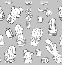 cactus black and white seamless pattern vector image