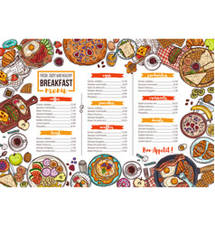 cafe breakfast menu hand drawn template vector image