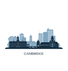 cambridge massachusett skyline monochrome vector image