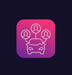 Carsharing service icon linear vector