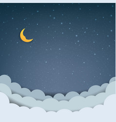 cartoon sky with stars and clouds vector image