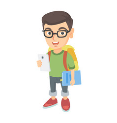 caucasian schoolboy holding cellphone and textbook vector image