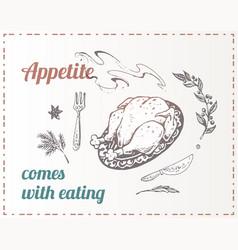 chalk drawn food poster design background vector image
