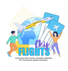 cheap flights square banner copy space traveling vector image