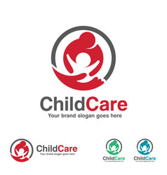 Child care logo mother and kid with hand symbol vector