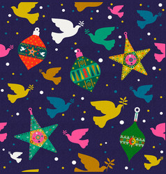 Christmas background of colorful dove decoration vector