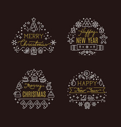 Christmas holiday decorative emblems with vector