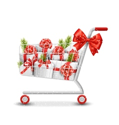 Christmas Winter Sale Shopping Cart with White vector image