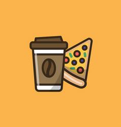 Coffee drink and pizza vector