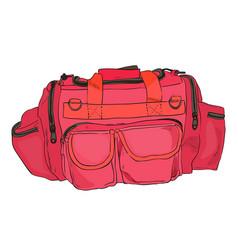 color sketch sports bag with pockets vector image