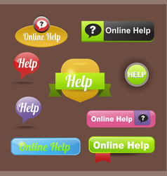 Colorful website online help buttons design vector