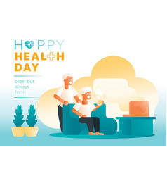 Couple olders happy daily life vector