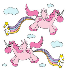 Cute funny pink unicorns farting rainbow and vector