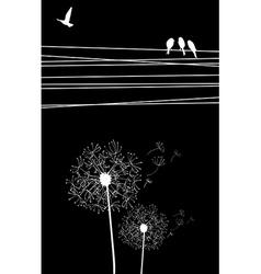 Dandelion bird background vector