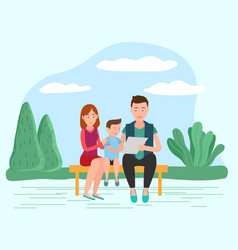 family sitting ob bench reading together vector image