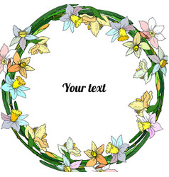 Frame of narcissuses vector