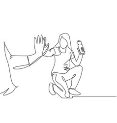 Friendship concept single line drawing young vector