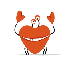 funny crab in love sketch for your design vector image