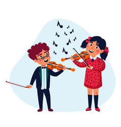 girl and boy musicians happy children playing vector image