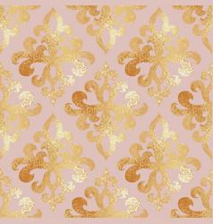 golden damask pattern seamless background vector image