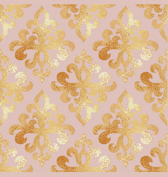 Golden damask pattern seamless background with vector
