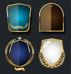 golden shields and laurel wreath retro design vector image