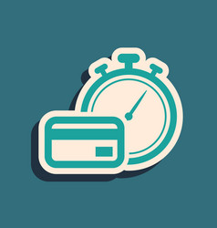 Green fast payments icon isolated on blue vector