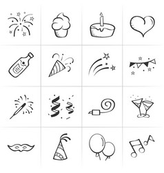 hand drawn celebration icons vector image