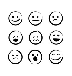 Hand drawn doodle emojis faces set vector