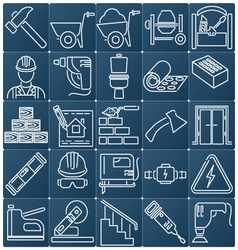 Icons on the construction and repair vector image