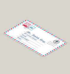 isometric mailing postal address mail letter post vector image