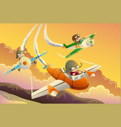 kids in an airplane race vector image