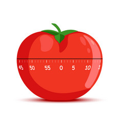 Kitchen clock in form red tomato with leaf vector