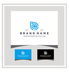 Letter bc tech logo design and business card vector