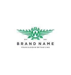 Letter w leaf wing logo design concept vector