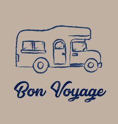 line drawing rv car and bon voyage concept vector image