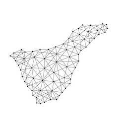 map of tenerife from polygonal black lines and vector image