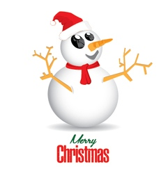 Merry Christmas and Snowman isolated on white vector