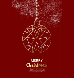 Merry year bauble ball outline gold vector