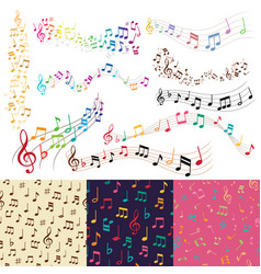 music notes music melody background vector image