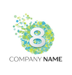 Number eight logo blue green yellow particles vector
