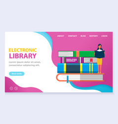Online library web landing page reading books vector