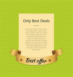Only best deals promo poster with golden ribbon vector